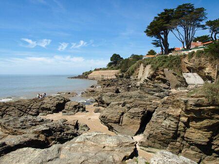 Ocean coast with rocks, Pornic, France