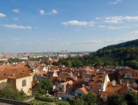 Prague view from the hill. Old city. Czechia, photo
