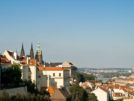 View from the hill to the Prague old city and cathedral photo