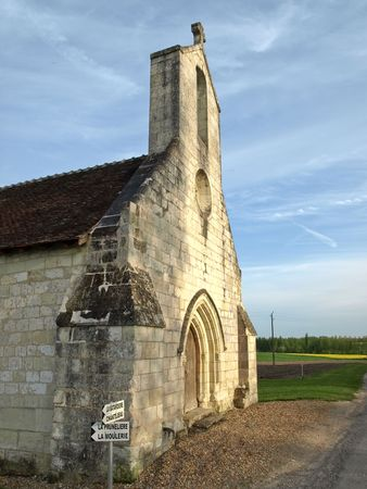 Medieval chapel in the middle of fields in France photo