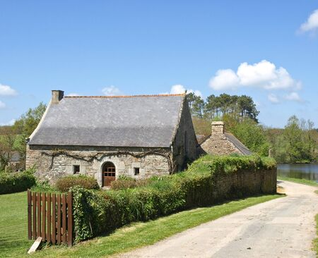 farmstead: Old french village house view