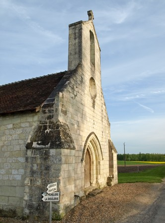 Old medieval church in french province manor photo