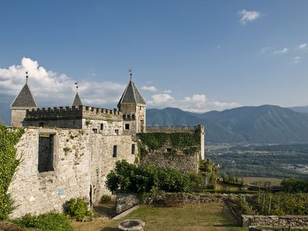 Medieval castle in french Alps Stock Photo