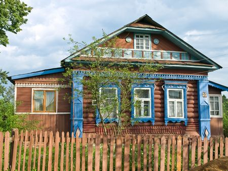 colorized: Colorized wooden house in russian country