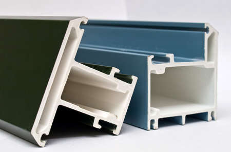 Fiber glass pultruded profile for windows and doors manufacturing. Blue.