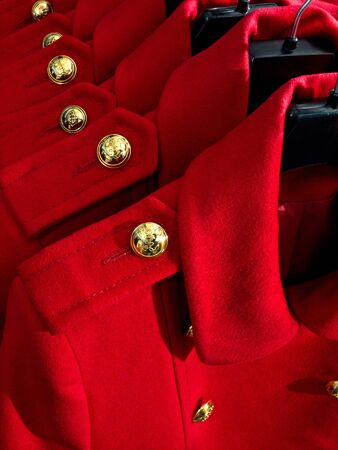Red autumn female wool coat