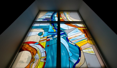 Stained-glass window in school photo