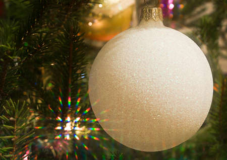 Christmas tree decoration with colorful beams of lights