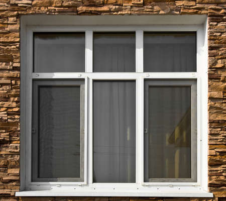 White fiberglass canadian windows Stock Photo