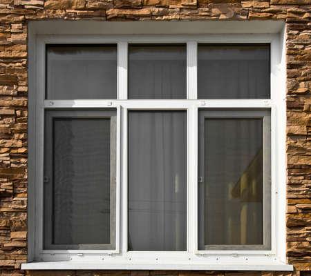 fiberglass: Windows canadiense de fibra de vidrio blanco Foto de archivo