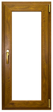 fiberglass handle: Laminated tall window with gold handle Stock Photo