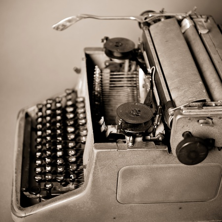 Old vintage typewriter with russian keyboard photo