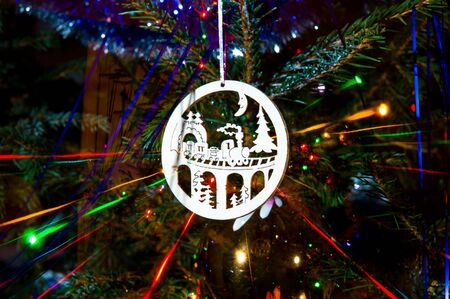 Colorful beams of xmas lights on christmas tree Stock Photo - 11858918