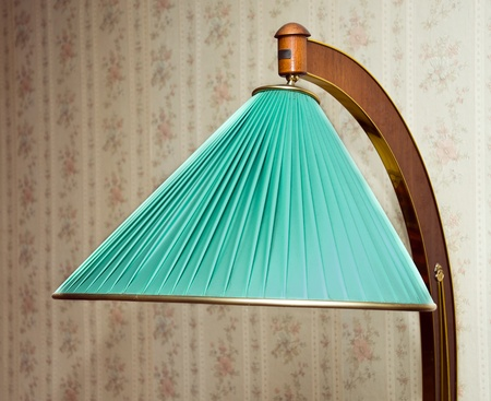 houseware: Retro electrical floor lamp with green lampshade