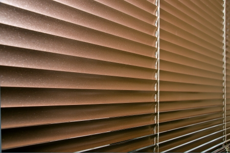 window blinds: Aluminium colorized blinds on plastik window. Perspective view. Stock Photo