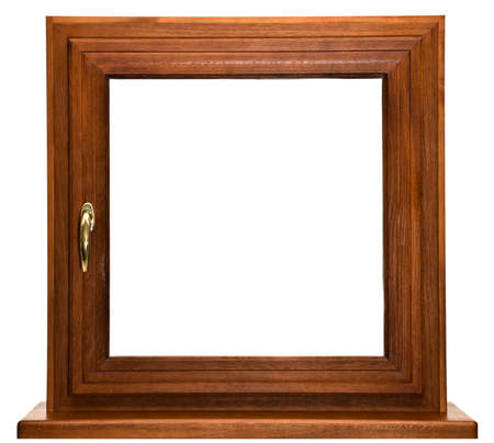 Oak laminated fiberglass window with gold handle isolated on white background