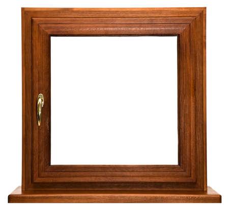 fiberglass: Roble laminado de fibra de vidrio ventana con empu�adura de oro aisladas sobre fondo blanco