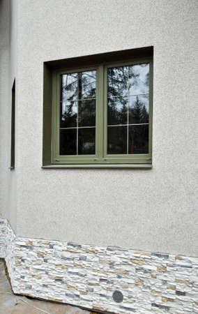 fibreglass: Verde de fibra de vidrio ventanas Foto de archivo