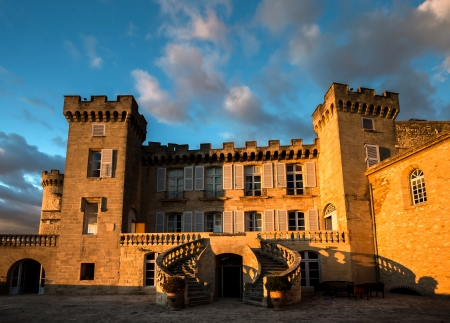 La Barben medieval castle on sunset. Provence. Stock Photo - 16961718