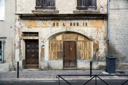 Old french boulangerie in small city. Carcassonne, France