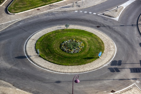 Birdfly view of road roundabout. Tarascon, France. Stock Photo
