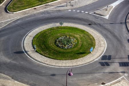 Birdfly view of road roundabout. Tarascon, France. Stock Photo