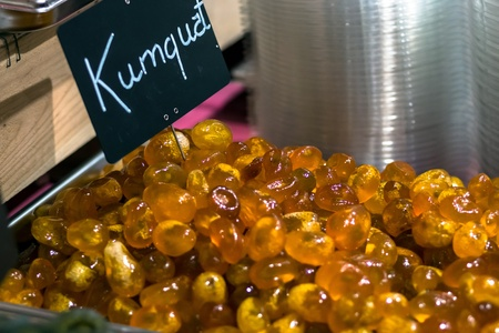 confectionary: Sweet kumquat in confectionary shop. Carcassonne, France.