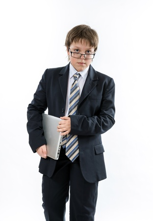 presentability: Sure teenage boy with laptop. Elegance and style. Stock Photo