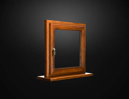 Elegant fiberglass window with oak coverage on dark background photo