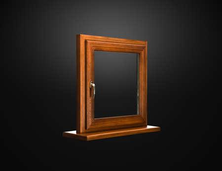 fiberglass: Fibra de vidrio de ventana elegante con cobertura de roble sobre fondo oscuro