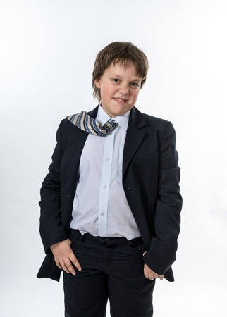 Office style dressed young boy isolated on white Stock Photo