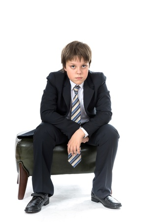 presentability: Office style dressed young boy isolated on white Stock Photo