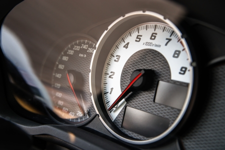 View of sport car speed control dashboard