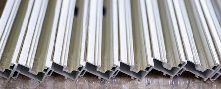 fiberglass: Window fiberglass profile manufacturing plant. Pultrusion equipment.