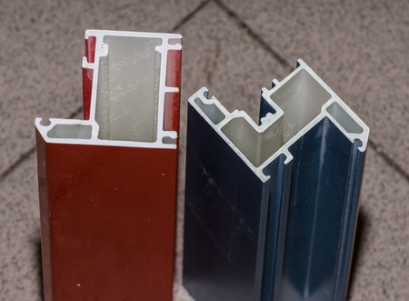 fiberglass: Colorised fiberglass profile samples for windows and doors manufacturing