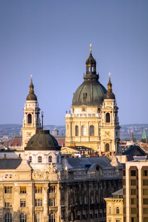 arhitecture: Budapest center birdfly view on sunset. Hungary. Arhitecture. Stock Photo