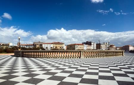Checkered floor in city square. Livorno, Tuscany, Italy. photo
