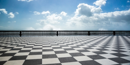 Checkered floor in city square. Livorno, Tuscany, Italy. Standard-Bild