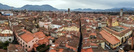 Panoramic view from top of tower of Lucca, Italy photo