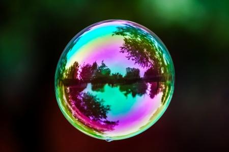 Soap bubble flying. City reflected in. Park. Standard-Bild