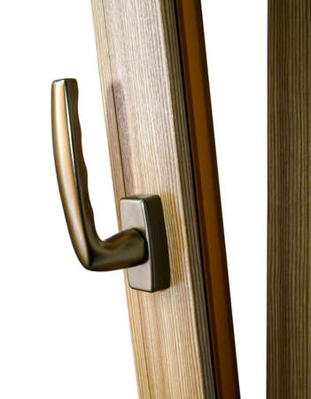 fiberglass: Identificador de ventana en ventana de fibra de vidrio. Color oro. Dise�o de interiores.