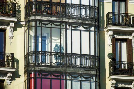 Elegant balcony in center of old city Madrid Spain