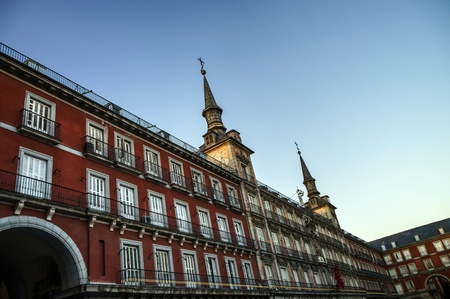 ritzy: Sunset over plaza mayor in Madrid Spain