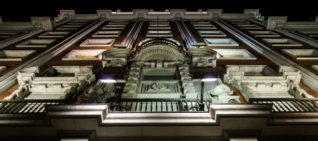 ritzy: Highlighting historic building in night Madrid Spain. Perspective view. Editorial
