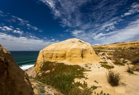 yellow ochre: Yellow ochre sand hills in Santa Cruz Portugal