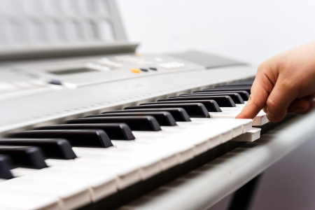 Electronic synthesizer keyboard perspective view. Close up. Stock Photo
