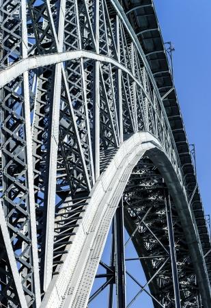 View of majestic bridge Dom Louis from Eiffel in Porto (river Douro,Portugal)