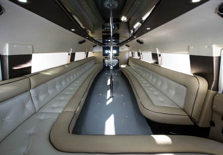 Luxury rented car interior. Wedding party limousine. Standard-Bild