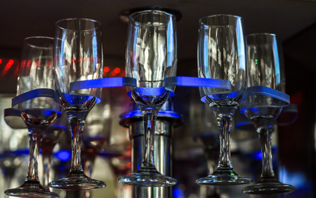 Empty wine glasses in luxury party limousine interior