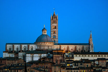 Siena cathedral night view, Italy, spring, sunset. photo
